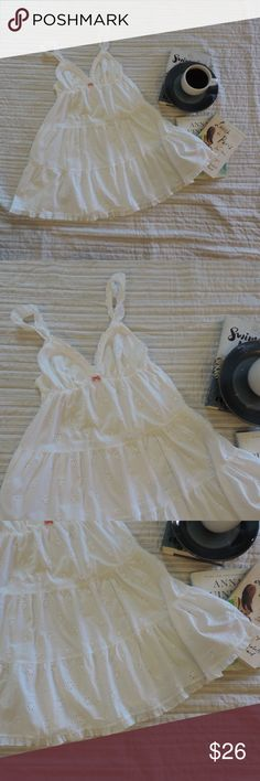 """VICTORIA'S SECRET ~ Small White EYELET Lace Gown *NO Trades Please*  EXCELLENT used condition!   *Accessories NOT Included… Just Shown for Styling**  All White Eyelet lace Gown or Chemise ~ Ruffle Trims on Shoulder Straps & Bottom Edge ~ V Style Neckline… Bodice is Lined ~ Layered/Tiered Design… Very Full & Flirty! ~ Adjustable Shouder Straps ~ Back Edge is Straight Across with Light Elastic/Ruching  100% Woven Cotton  Bust (at armpits):  14"""" (NO Stretching of Elastic on Back) Length:  31…"""