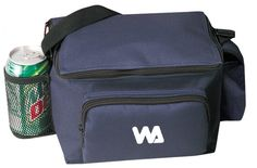 6 Pack Poly Cooler with Bottle Holder and Cell Phone Pouch [Navy] Case Pack 48