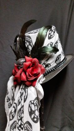 Day of the Dead Steampunk Voodoo inspired black top hat by pp1124