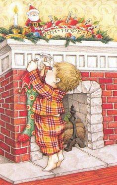 Faith Hope Love Christmas Fireplace Art by Mary Engelbreit Christmas Scenes, Noel Christmas, Vintage Christmas Cards, Christmas Pictures, Xmas, Christmas Stocking, Mary Engelbreit, Fireplace Art, Christmas Fireplace