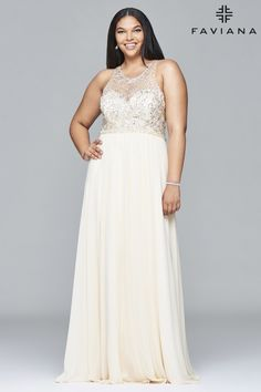 Chiffon plus size prom dress with beaded bust and keyhole back. #Faviana Style 9374