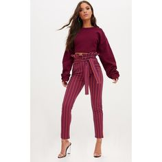 Burgundy Stripe Paperbag Skinny Trousers (£15) ❤ liked on Polyvore featuring pants, red, red stripe pants, stripe pants, skinny fit pants, burgundy pants and paperbag trousers