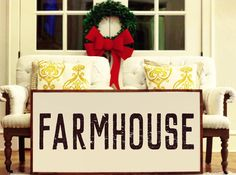 """""""Farmhouse"""" Size is Approximately: 45""""x 23"""" White Printed Board + Black Distressed Text + Stained Wood Frame Please note these boards are lightweight (2-6 pounds) making decorating and rearranging a breeze!  Hangers are included with all products  Ships within 7-10business days."""