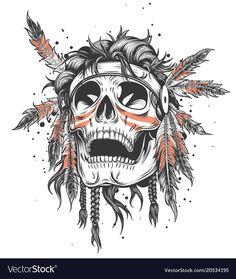 Skull of an indian warrior vector illustration. War paint and native american feathers headwear. Isolated on white. Small Skull Tattoo, Skull Tattoo Flowers, Feather Tattoos, Tatoos, Indian Chief Tattoo, Indian Skull Tattoos, Red Indian Tattoo, Crane, Headdress Tattoo