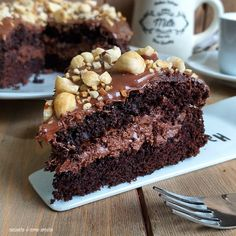 Gourmet Recipes, Sweet Recipes, Cake Recipes, Nutella Chocolate Cake, Kolaci I Torte, Bulgarian Recipes, Nutella Recipes, Sweet Cakes, I Love Food