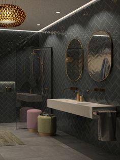 Als je van uitgesproken houdt zijn donkergekleurde tegels de perfecte keuze voor jouw badkamer. De diepe kleurtonen zijn zorgvuldig geselecteerd en geven een gevoel van luxe. Bathroom Design Inspiration, Modern Bathroom Design, Bath Design, Bathroom Interior Design, Bathroom Renos, Small Bathroom, Home Design Decor, House Design, Living Room Wall Designs