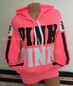 Victoria's Secret Pink Bright Neon Pink Black White Logo Pullover Hoodie -M *NIP Victoria's Secret Pink Bright Neon Pink Black White Logo Pullover Hoodie M NIP Victoria Secret Outfits, Victoria Secrets, Pink Outfits, Fall Outfits, Cute Outfits, Vs Pink Outfit, Estilo Fashion, Teen Fashion, Fashion Trends