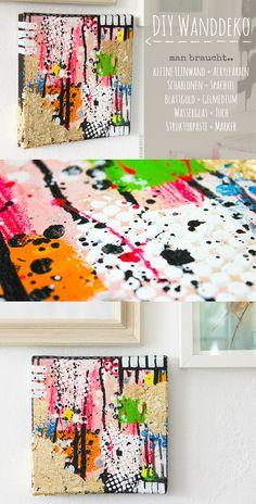 Wanddekorationen selber machen mit Leinwand, Acrylfarbe und Blattgold | Janna Werner