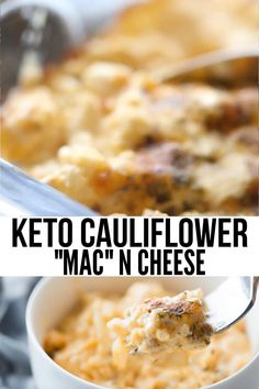 A delicious cauliflower mac and cheese recipe that is low in carbs and keto-friendly! Cauliflower Mac And Cheese, Mac And Cheese Healthy, Cauliflower Low Carb Recipes, Low Carb Cauliflower Casserole, Vegan Cauliflower, Low Carb Dinner Recipes, Healthy Recipes, Diet Recipes, Breakfast Recipes
