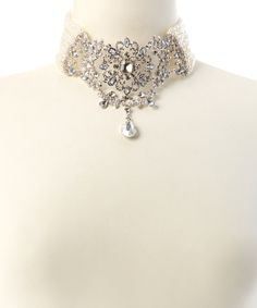 Look at this #zulilyfind! Faux Pearl & Rhinestone Pendant Choker & Drop Earrings by Charlestone #zulilyfinds
