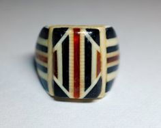 "Vintage Celluloid Bakelite Folk Art Prison Ring - Rare - Marked ""1940"" (Size 8)"