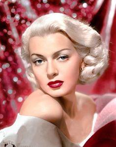 Lana Turner - gorgeous colour shot with platinum hair