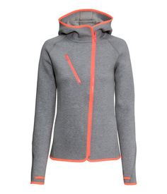 Hooded jacket in fast-drying tech-fleece. Diagonal zip at front, mesh-lined chest pocket with zip, and mesh-lined side pockets. Thumb holes at cuffs. | H&M Sport