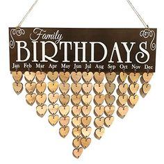 Wooden DIY Calendar Hanging Plaque Board Family Birthday Reminder Home Decor Diy Birthday Reminder Board, Birthday Calendar Reminder, Family Birthday Calendar, Family Birthday Plaque, Family Birthday Board, Birthday Signs, Birthday Cards, Calendrier Diy, Diy Calendar