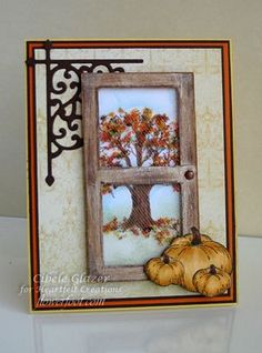 Heartfelt Creations; Autumn Screen Door Scene I love fall cards !