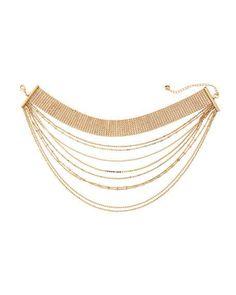 Layered Multi-Row Choker Necklace, Gold