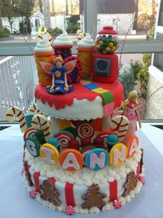 Candy land theme cake!!! Candy Land Theme, Birthday Parties, Birthday Cake, Candy Cakes, Personalized Cakes, Quince Ideas, Candyland, Themed Cakes, Sweet 16