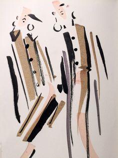 Prada, Jenny M Walton / Markers and Microns Fashion Illustration Sketches, Illustration Mode, Fashion Sketchbook, Watercolor Illustration, Fashion Sketches, Fashion Painting, Fashion Art, Fall Fashion, Fashion Design Portfolio