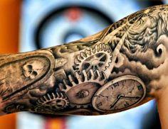 Black and grey half sleeve by Shaun Carroll of Hot Rod Tattoo Blacksburg, Virginia