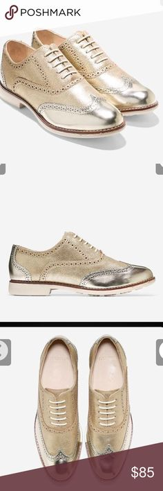 Cole Haan Gramercy Wing Oxford II  GOLD 6 : Gramercy Wing Oxford II Style # : W00723 Color   : Soft Gold Suede - Oat Cole Haan Shoes Flats & Loafers