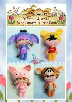 Sewing Toys Winnie the Pooh Felt Toys - Cutest Felt Toys you will simply adore. From clowns to teddies, and even a robot! Get inspired and start your next projects now! 2 Baby, Felt Baby, Animal Sewing Patterns, Stuffed Animal Patterns, Felt Crafts, Diy Arts And Crafts, Felt Quiet Books, Disney Plush, Sewing Toys