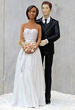 Chic Interracial Wedding Cake Topper - African American Bride / Caucasian Groom