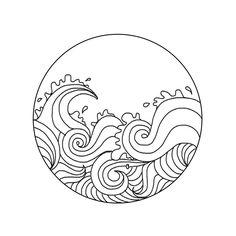 Waves line drawing Ocean Drawing, Doodle Drawing, Wave Drawing, Doodle Art, Mandala Drawing, Camera Drawing, Inka Tattoo, Et Tattoo, Surf Tattoo