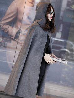 Gray Split Front Hooded Poncho Cape Woolen Coat