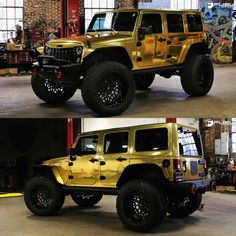 Sick gold wrapped Jeep! What are your thoughts? #AllTerrainTrucks by allterraintrucks