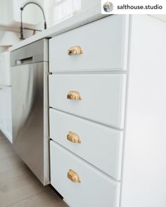Pretty cabinet details! #repost • @salthouse.studio can't get over this beautiful hardware. the living brass & crystal knobs bring in all the coastal cottage vibes 🌊 such an easy & quick install #coastalliving #coastalcottage #coastalinteriors #brassdecor #diy #cabinethardware Brass Cabinet Hardware, Cabinet Knobs, Coastal Cottage, Coastal Living, Crystal Door Knobs, Knobs And Pulls, Studio, Antiques, Pretty
