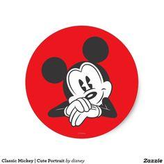 Classic Mickey | Cute Portrait Classic Round Sticker