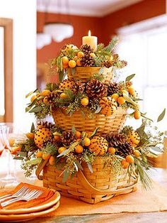 Fall-Thanksgiving decorations with Longaberger baskets- don't like it soo stuffed, but a little more simple & it'd b perfect