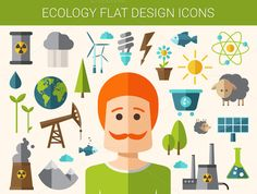Flat Design Ecological Icons Set by Decorwith.me Shop on Creative Market