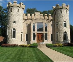 'Castle' home in Schaumburg, Illinois, complete with rooftop battlement & turrets! The property was once featured in Chicago Magazine & NBC's LXTV. It has 8 Bedrooms, 7.2 Baths, 3 Fireplaces, 8 Car Garage  English Tudor House, Castle, Coach House on 3.25 Acres