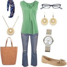"""""""Green and jeans"""" by jossiebristow on Polyvore"""