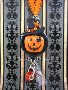 BEAWITCH Pumpkin  Halloween Fancy Retractable by BeasBuzzDesigns, $20.00