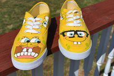 Funny Sponge Bob Hand Painted Sneakers size 8 by AnnetasticDesigns, $45.00