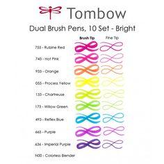 Dual Brush Pen Set, 10 Bright