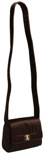 Chanel Pre-owned: dark brown satin stitched vintage evening bag