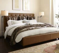 Lorraine Tufted Leather Bed & Headboard | Pottery Barn $2100