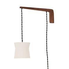 Wyatt Swing Arm Sconce, a modern light collaboration using ceramic, walnut and brass by  Cedar & Moss and Pigeon Toe Ceramics