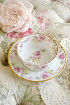 Beautiful Elite Limoges Porcelain Ramekin and Saucer