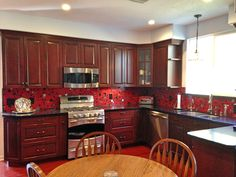Image result for red silver and black tile for kitchen