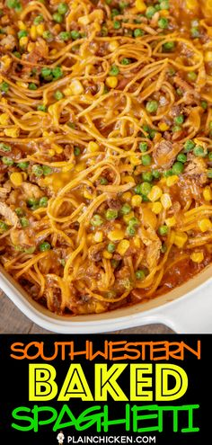 how to fry onions Southwestern Baked Spaghetti Recipe - great make-ahead dinner! Baked spaghetti loaded with ground beef, chili seasoning, diced tomatoes and green chiles, spaghetti sa Fried Spaghetti, Easy Baked Spaghetti, Baked Spaghetti Casserole, Spaghetti Meat Sauce, Pasta Recipes, Chicken Recipes, Snack Recipes, Plain Chicken Recipe, Spagetti Recipe