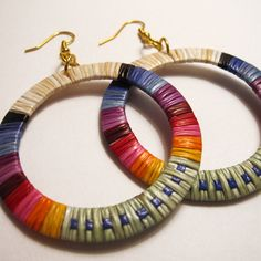 Beautiful Lakota Sioux Quillwork Hoops by Ista Ska, available at Beyond Buckskin