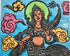 American Buddhist Art by FaithStoneArt on Etsy Hindu Art, Buddhist Art, Disney Characters, Fictional Characters, Etsy Seller, Aurora Sleeping Beauty, Culture, Disney Princess, American