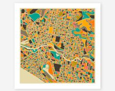 MELBOURNE, AUSTRALIA Map, Giclee Fine Art Poster Print, Modern Abstract Wall Art for the Home Decor