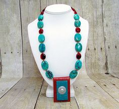 Turquoise & Carnelian Necklace with Clay Pendant - T22 - by daksdesigns on Etsy