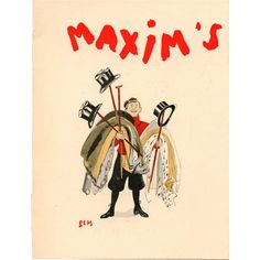 maxim's vintage sem | Maxim's 1936 Artist Signed Menu for Gastronomy Club Bellhop with Top ...