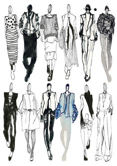 Fashion Sketchbook - fashion sketches; line up; fashion illustrations; fashion…